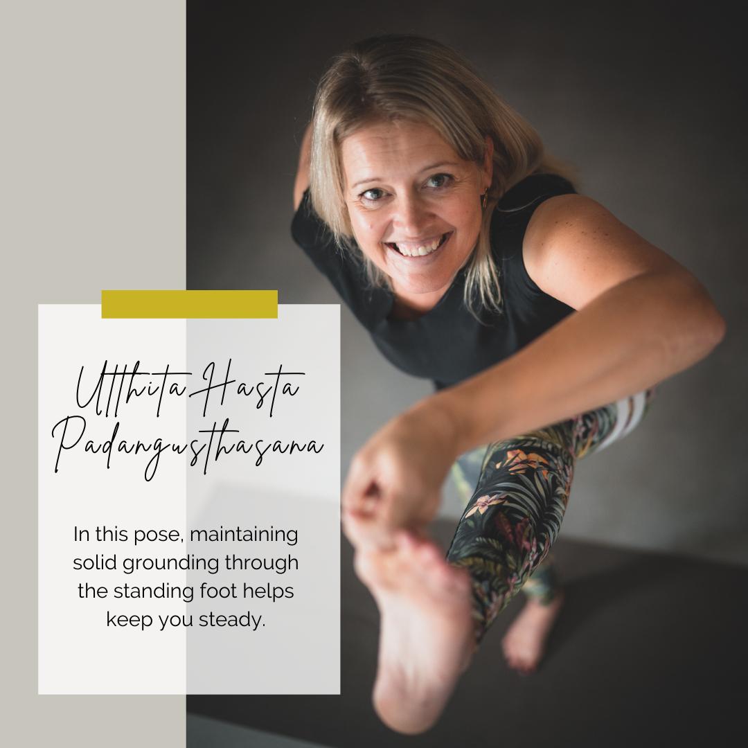 Yoga poses: utthita hasta padangusthasana